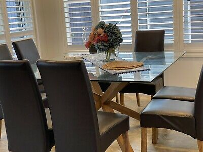AU1100 • Buy Square Dining Table With 8 Leather Chairs