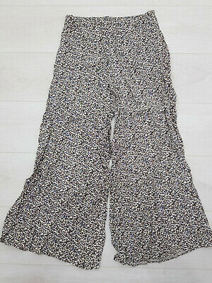 RIVER ISLAND Palazzo Trousers Size 8 W26 L27 Beige Floral Polka Dot Zip Low RIse • 9.99£