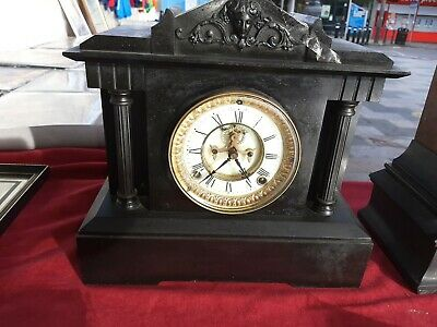 Highly Collectable Vintage Antique American Style Victorian Black Mantel Clock  • 99£