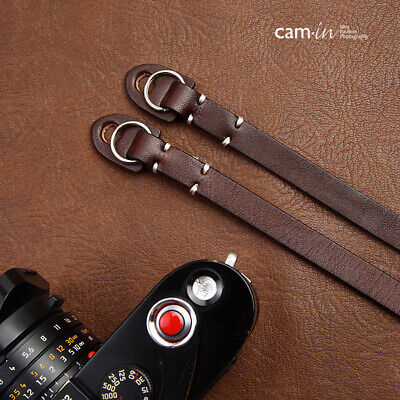 Dark Brown Leather Camera Strap With Ring Connection By Cam-in (white Stitching) • 26.99£