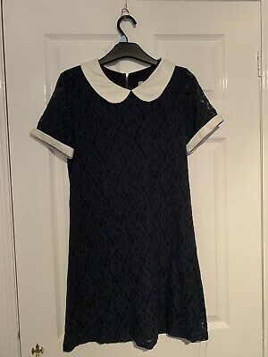Blue Lace Dress With White Pleather Cuffs And Collar • 3.42£