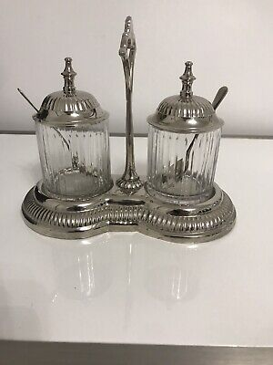 Vintage Double Condiment Server - Centre Handel Glass Jars With Lids And Spoons • 6.20£