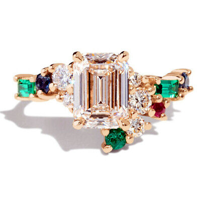 £1.88 • Buy Gorgeous 18k Yellow Gold Plated Rings Emerald Cut Cubic Zirconia Rings Size 6-10