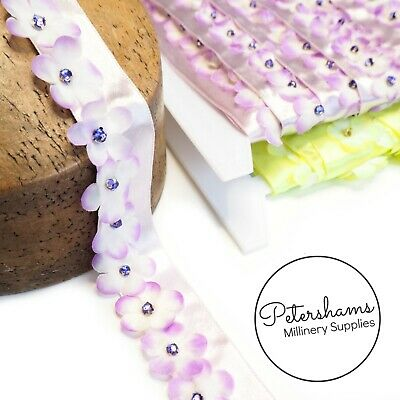 Diamante Centre Fabric Flowers On Satin Ribbon Trim 1m For Millinery • 2.25£