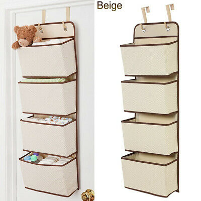 £6.99 • Buy 4-Pockets Wall Hanging Closet Organizer Over Door Storage For Toys Fabric Beige