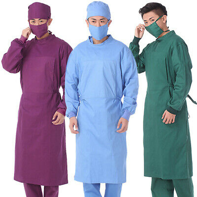 Unisex Hospital Gown Isolation Gown Dental Lab Uniforms Elastic Cuff Solid Color • 18.97£