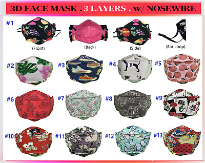AU12.95 • Buy 3D Cloth Face Mask Washable Reusable Triple Layer. Handmade In Australia