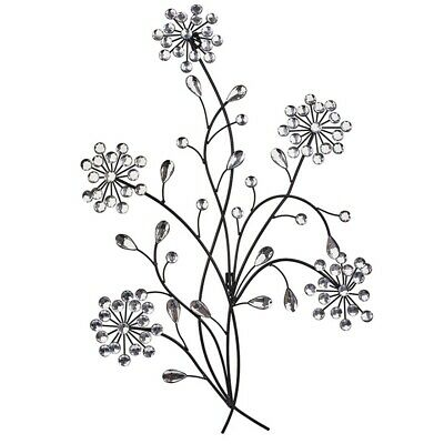 Primus® Floral Metal Diamante Ice Droplet Wall Art - For Indoor / Outdoor Use D1 • 26.99£
