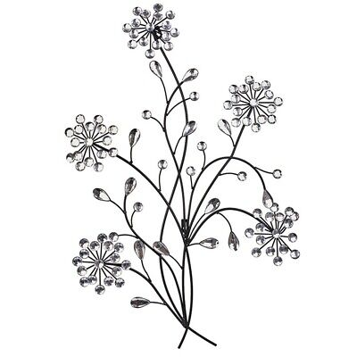 Primus® Floral Metal Diamante Ice Droplet Wall Art - For Indoor / Outdoor Use D3 • 27.01£