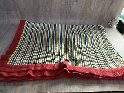 Next Baby Blanket Knitted Rainbow Striped Multicoloured Large • 9.99£