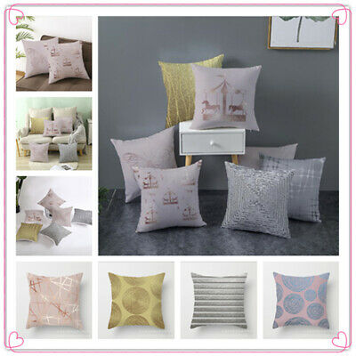 New 18 X18 Inch Gold Pink Grey POLYESTER CUSHION COVER PILLOW CASE HOME SOFA OFF • 2.99£