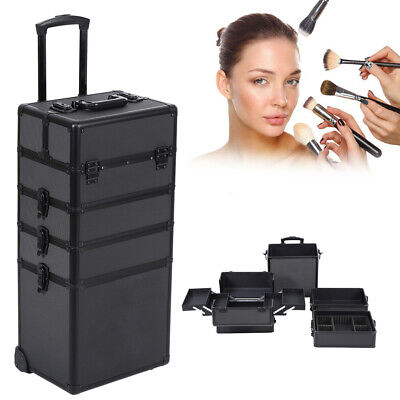$110.99 • Buy 4 In 1 Aluminum Cosmetic Case Professional Makeup Train Case Trolley Makeup Case
