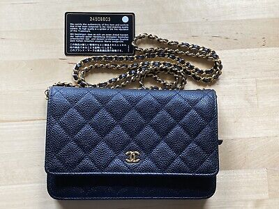 AU3650 • Buy Authentic CHANEL Caviar Wallet On Chain WOC Black Shoulder Bag Crossbody