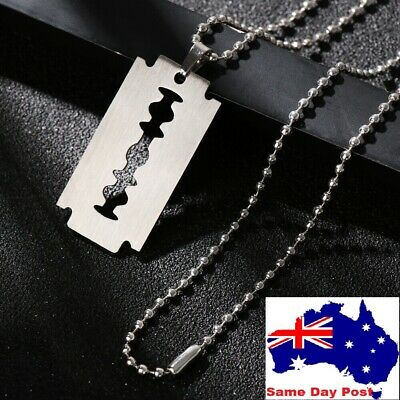 £3.04 • Buy Street Punk Hip Hop Pendant Razor Blade Shaped Dogtag Necklace Stainless Steel
