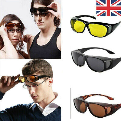 Fit-Over Sunglasses Night Sight Night Driving Over Glasses UV Wind Protection • 6.99£