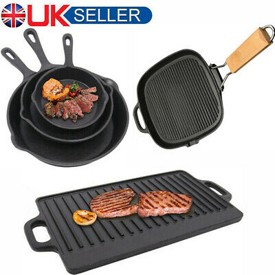 Cast Iron Non Stick Frying Pan Pre Seasoned BBQ Griddle Skillet Grill Steak Egg • 18.99£