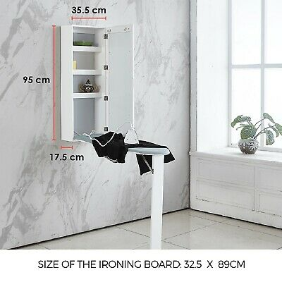 £99.99 • Buy Wall Mounted Ironing Board Built-In Cabinet Fold Out Wood Ironing Board Storage