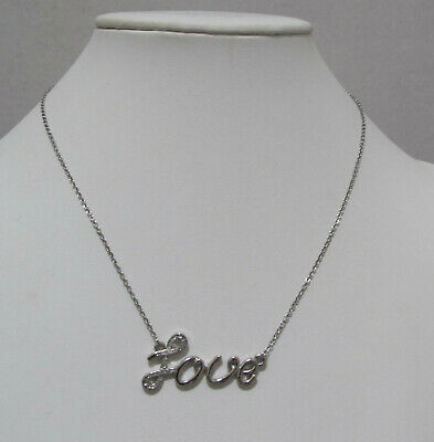 """$ CDN6.66 • Buy LIA SOPHIA """"Love"""" Silver Tone Necklace Clear Crystals 1 Stone Replaced AS-IS"""