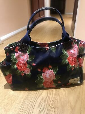 Ladies Bag, Forever England, Good Condition Navy With Pretty Roses,Spacious,Zip, • 12£