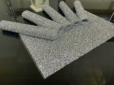 Silver Crushed Diamond Set Of 6 Place Mats, Dining Kitchen Sparkle • 27.99£
