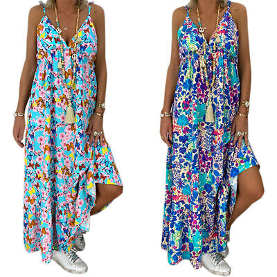 AU20.42 • Buy Womens Strappy Boho Maxi Dress Summer Beach Holiday Casual Sundress Plus Size