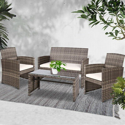 AU387.40 • Buy 4PCS Outdoor Furniture Table And Chair Set Garden Setting Patio PE Wicker Rattan