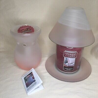 Yankee Candle Home Sweet Home Large Jar Pink Tranquility Shade Plate Warmer Set • 39.99£
