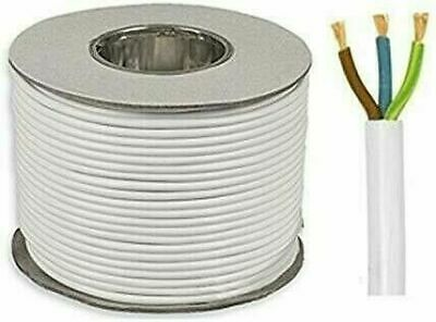 White 3 Core Flex 0.5mm 0.75mm 1.0mm 1.5mm 2.5mm Mains Wire Cable Electric 3183Y • 5.99£