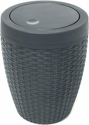 Addis Faux Rattan Round Swing Lid Bathroom Bin, Charcoal Perfect For Bathroom • 21.39£