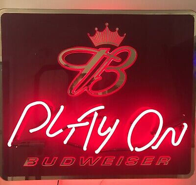 $ CDN378.77 • Buy Budweiser Play On Neon Light Advertising Sign 26  X 22