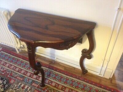 £135 • Buy Rosewood Console Table, Half Moon With Cabriole Carved Legs And Wood Carvings