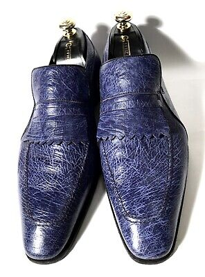 $ CDN685.67 • Buy Artioli Blue Ostrich Leather Shoes Loafers Size 44, UK-10, US-11