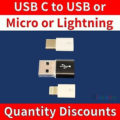 AU7.50 • Buy Micro USB USB-C Lightning Female Male Adapter Converter Connector