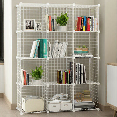 AU48.99 • Buy 2 To 25 Cube White DIY Wire Storage Shelves Cabinet Metal Display Shelf Toy Book