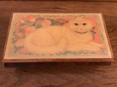 Vintage Reuge Lefton Swiss Wooden Inlay Music Box Memory/Cats • 65£
