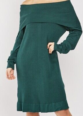 New Off The Shoulder Cotton Knit Jumper Dress In Green  Size 3xl Fits  Size 22 + • 14.99£