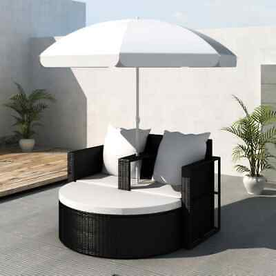 AU383.95 • Buy Garden Lounge Set With Parasol Deluxe Patio Outdoor Furniture Rattan Daybed