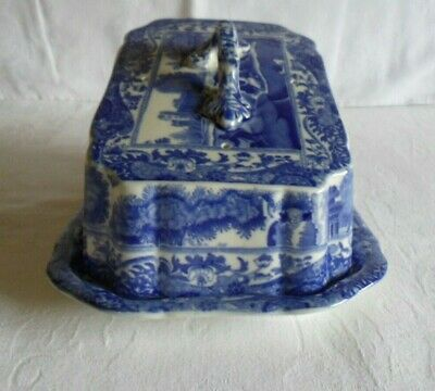 Spode Copeland Blue Italian Cheese Dish - Early Blue Oval Back Stamp 1924 • 88£