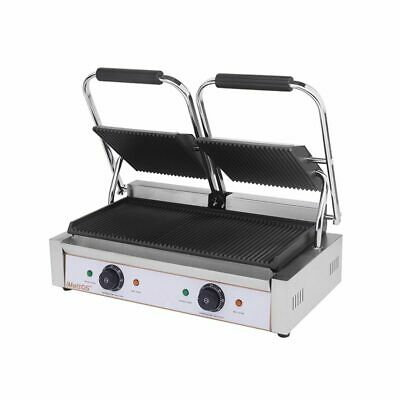 Commercial Panini Contact Twin Ribbed Grill Cast Iron Imettos 101017 • 264£