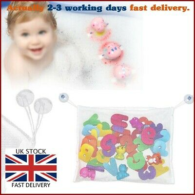 * Kids Baby Bath Toy Tidy Storage Bag Suction Cup Bathroom Organiser Net Mesh UK • 2.99£