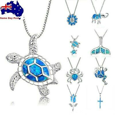 AU7.95 • Buy Cute Sea Animal Turtle Pendant Necklace Silver Blue Fire Opal Jewelry Gift Chain