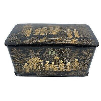 £295 • Buy Antique 19th C Japanese Lacquered Two Section Tea Caddy Gilded Figural Scene