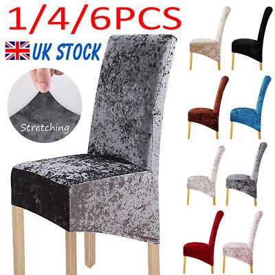 £4.99 • Buy 1/4/6X Crushed Velvet Dining Chair Covers Stretchable Christmas Slipcover Decor