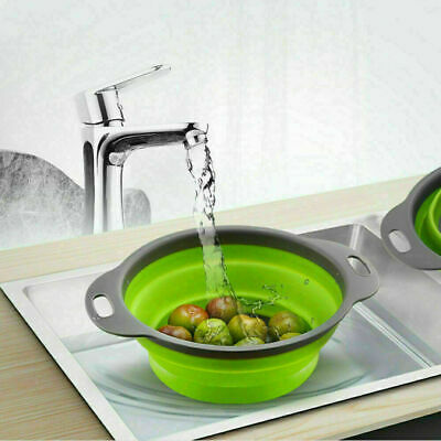 Foldable Collapsible Silicone Colander Kitchen Fruit Vegetable Strainer Basket   • 4.09£