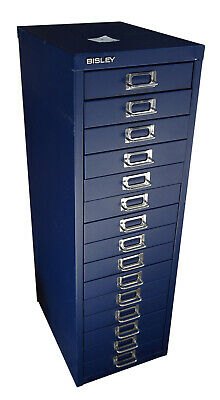 £50 • Buy 15 Multi Drawer Bisley Metal Foolscap Filing Cabinet Office In Blue SMALL DENTS