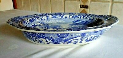 Rare Spode Copeland Blue Italian  Oval Warming Serving Dish - Early Oval B/stamp • 95£
