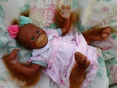 Reborn Monkey Baby Girl Orangutan Bindi 3lb7 17  JosyNN BABY BUT NOT A BABY FUN! • 125£