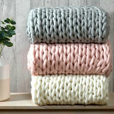 £34.95 • Buy Luxury Chunky Wooly Hand Knitted Cable Knit Blanket Sofa / Bed Throw 120x150cm