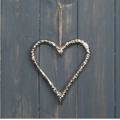 £5.49 • Buy Hanging Silver Metalic Heart Or Star Decoration, Rustic Luxe Home Decoration