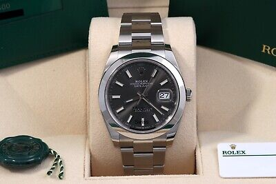 $ CDN11223.81 • Buy Rolex Datejust 41 Rhodium/Grey Index Oyster Oct 2020 Box/Papers/Card 126300